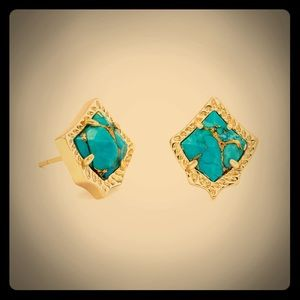 Kendra Scott Kirstie Gold Earrings Blue Turquoise